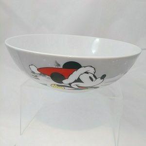 NWOT Disney Mickey's Vintage Holiday Glass Bowl